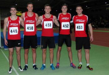 Mit Henri Alter, Michael Hiob, Jan Ullrich, Tobias Stang und Mario Nadler waren fünf MT-Sprinter im 60m-Finale von Erfurt vertreten. Foto: nh