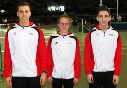 Aaron Werkmeister, Lynn Olson und Marvin Knaust vertraten die Farben der MT Melsungen bei den Landeshallenmeisterschaften der U20 in Hanau. Foto: nh