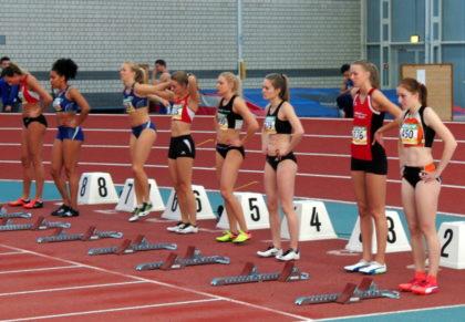 Ein erlesenes Feld im 60m-Finale der Frauen. Zweite von rechts Katharina Wagner von der MT Melsungen. Foto: nh