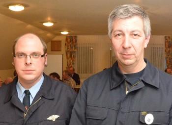 Wehrführer Harald Otto (rechts) und sein Stellvertreter Heiko Pöhler. Foto: Reinhold Hocke
