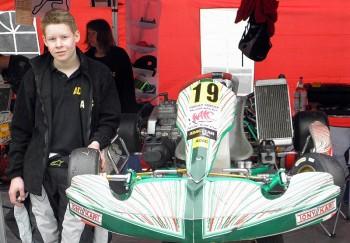 Der Löhlbacher Kart-Pilot Darwin Daume (RAC Borken e.V. / ADAC Hessen-Thüringen / Alljo-Hima-Kart-Team). Foto: Uli Daume