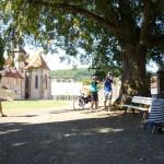 Das Filmteam im Hof des Kloster Haydau. Foto: nh