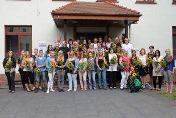 Die Prüflinge freuen sich über den erfolgreichen Abschluss ihrer Prüfungen. Auf dem Foto fehlen: Heidi Gaudin, Kai Erdel und Christoph Ferreau. Foto: nh
