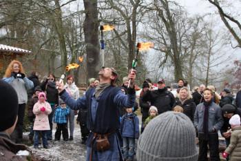 Spektakuläre Feuershows stehen beim Mittelalterlichen Weihnachtsmarkt im Tierpark Sababurg mit auf dem Programm. Foto: nh
