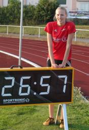 Mit 26,57 Sekunden über 200 Meter der U20 sorgte Katharina Wagner für eine herausragende Leistung in Bebra. Foto: Alwin J. Wagner