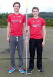 Michael Hiob und Henri Alter (MT Melsungen) konnten trotz eines verkürzten Anlauf im Speerwerfen der U20 überzeugen. Foto: Alwin J. Wagner