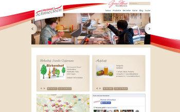 Screenshot der Website heimat-schmecken.de auf der regionale Direktvermarkter ihre Produkte präsentieren können.