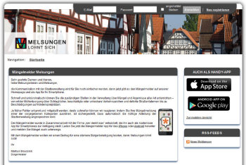 Unter http://melsungen.mängelmelder.de/ lässt sich die App herunterladen. Screenshot: SEK-News