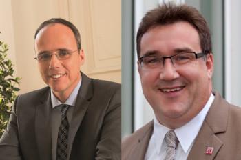 Hessens Innenminister Peter Beuth und Staatssekretär Mark Weinmeister. Foto: nh