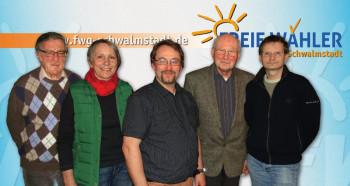 Kassenwart Heinrich Schwalm. Referentin für Öffentlichkeitsarbeit Christel Bald. 1. Vorsitzender Detlef Jacob. 2. Vorsitzender Werner Kimmel und Schriftführer Thomas Kölle (v.l.). Foto: nh