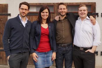 Der Jusos-Vorstand: Philipp Rottwilm, Rosa Hamacher, Sebastian Vogt, Simon Reichhold (v.l.), Martin Herbold (fehlt). Foto: nh