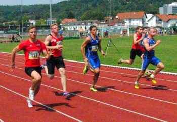 Dennis Horn lag im 100m-Vorlauf wenige Meter vor dem Ziel noch in Führung. Foto: nh