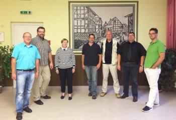 Peter Lindner, Bernhard Lanzenberger, Inge Mathes, Stefan Sippel, Reinhold Thiemann, Lars Kühn und Phil Kothe (v.l.). Foto: Dr. Bühler