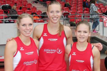Karolin Siebert, Katharina Wagner und Franziska Ebert verbesserten die Kreisbestleistung im Mannschaftsfünfkampf der Frauen. Foto: nh