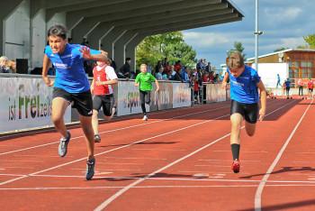 Im 75m-Finale der  M12 siegte Navtej Dhaliwal vor Alexander Ludwig (beide Melsungen) und Max Hofmeier. Foto: nh