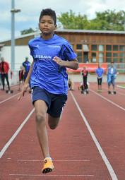 Jermaine Kothe verbesserte sich im 50m-Sprint auf 7,69 Sekunden. Foto: Alwin J. Wagner