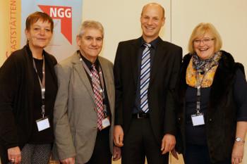 Der neu gewählte Vorstand sowie NGG-Geschäftsführer Andreas Kampmann: Michaela Vermeij, Harald Stunz, Andreas Kampmann und Brigitte Theiß (v.l.). Foto: nh