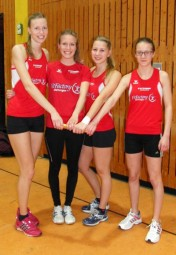 Katharina Wagner, Stefanie Klein, Rabea Pöppe und Lynn Olson holten sich den Staffelsieg. Foto: nh
