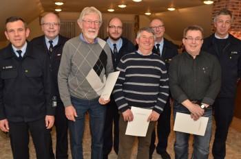 Oliver Garde, Bernd Grünhaupt, Heiko Pöhler, Horst König, Manfred Marx, Thomas Steube und Harald Otto (v.l.). Foto: nh