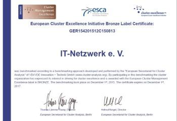 Für herausragende Leistungen im Bereich der Clusterentwicklung erhielt IT Netzwerk das Bronze Label der Europäischen Cluster Excellence Initiative (ECEI). Foto: nh