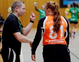 Kirchhofs Trainer Christian Denk und Torfrau Paula Küllmer haben noch viel vor. Foto: SG 09 Kirchhof