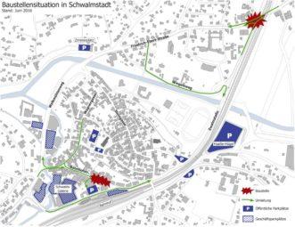 Aktuelle Baustellen, Umleitungen und Parkplätze in Treysa. Quelle: Stadt Schwalmstadt