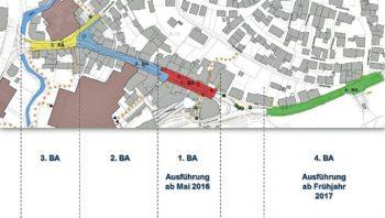 Die für den Umbau der Bahnhofstraße geplanten Bauabschnitte. Quelle: Stadt Schwalmstadt