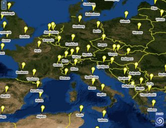 Eine Weltkarte ermöglicht unter www.cmsaf.eu/SunnyDays den interaktiven Zugang zu den Ergebnissen der DWD-Analysen. Quelle: Deutscher Wetterdienst