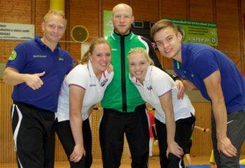 Christian Denk, Rica Wäscher, Eugen Gisbrecht, Christin Kühlborn und Dennis Horn (v.l.) sind engagiert für die Förderung der heimischen Handballkids. Foto: SG 09 Kirchhof
