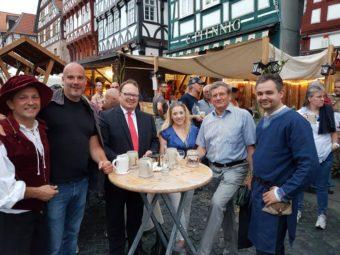 Gert Rohde (Ausschussvorsitzender PSK), Dr. Christoph Pohl (Fraktionsvorsitzender), Jürgen Mück (Verbandsvorsitzender), Melissa Wenderoth (Stadträtin), Willi Werner (Fraktionsvorsitzender Kreistagsfraktion) und Alexander Kramer (Kreisfraktionsgeschäftsführer) (v.l.). Foto: nh