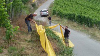 Rolf Hausmann und Florian Eberhardt beim Aufbau eines Zuschauerbereichs. Foto: nh