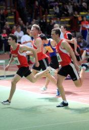60m-Zieleinlauf der Männer - Henri Alter vor Michael Hiob und Jan Ullrich (alle MT Melsungen). Foto: nh