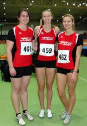 Lisa Arend, Katharina Wagner und Nele Grenzebach holten vier Siege in der Erfurter Leichtathletikhalle. Foto: nh