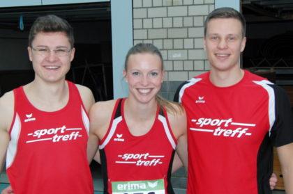 Katharina Wagner hatte allen Grund zum Strahlen.  Mit 8,07 Sekunden zog sie in das 60m-Finale der schnellsten hessischen Frauen ein. Auch Tobias Stang und Michael Hiob freuten sich über diese starke Leistung. Foto: nh