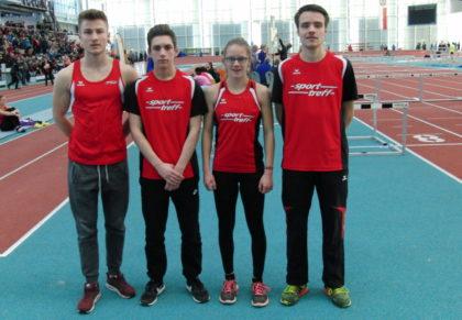 Die vier Melsunger Starter am zweiten Tag der Landes-Hallenmeisterschaften in Frankfurt. Foto: nh