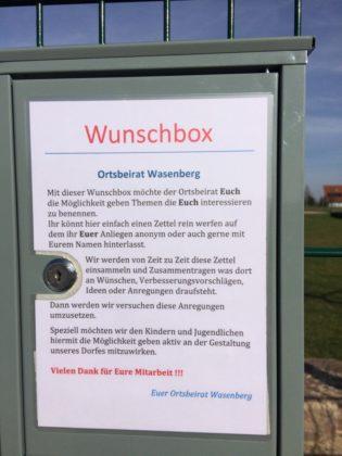 Eine der Wasenberger Wunschboxen. Foto: nh