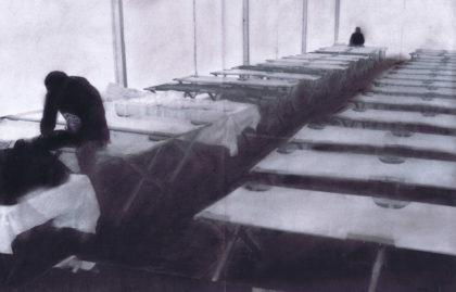 """Das Bild von Niklas Stieglitz: Es """"drückt die Niedergeschlagenheit der Menschen aus, wie viel ein Mensch oder die Menschen allgemein durchgemacht haben müssen, wie viel oder was zurückgelassen haben müssen. […] Denn wir wissen gar nicht, wie gut es uns eigentlich geht und wie schlecht anderen"""". Quelle: nh"""