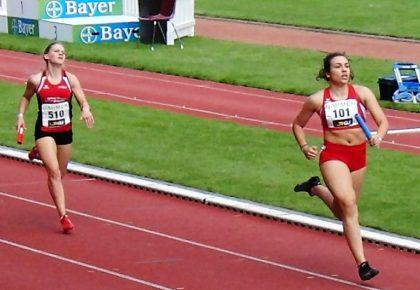 Franziska Ebert machte fast 60 Meter gut und führte die MT-Staffel zum neuen Kreisrkord von 4-02,09 Minuten. Foto: nh