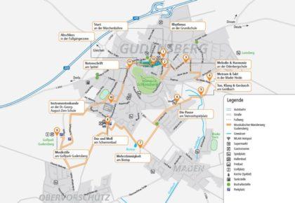 Der Verlauf des Musikalischen Wanderwegs Gudensberg. Quelle: Stadt Gudensberg
