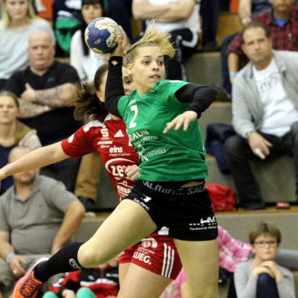 Ihre ersten zwei Bundesligatore hat Hannah Grothnes in Zwickau geworfen. Heute gegen den Titelanwärter muss die Jüngste und Kleinste im Kirchhof-Team Christin Kühlborn vertreten. Foto: SG 09 Kirchhof