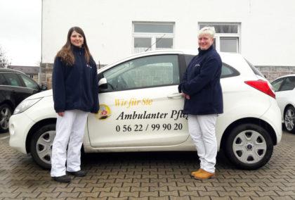 """Ein gutes Team: Die neue Leiterin des Pflegedienstes """"Wir für Sie"""" Theresa Henschke-Meyl (links) und ihre Stellvertreterin Madeleine Scheuer. Foto: Pflegedienst """"Wir für Sie"""""""