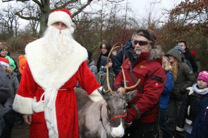 Weihnachtsmann und sein Assistent Renrajd-Uwe mit Rentier Bjijje. Foto: Sandy Rödde