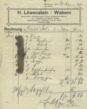 Rechnung vom 29. Dezember 1932. Foto: Archiv Wolfgang Nelke