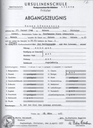 Hanna Löwensteins Abiturzeugnis vom März 1923. Foto: Archiv Thomas Schattner