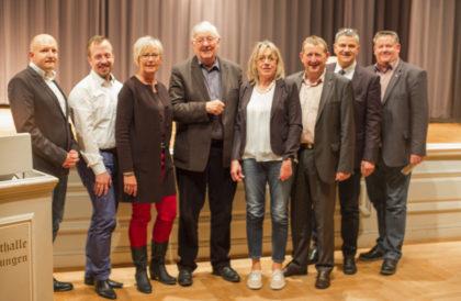 Jan Rauschenberg (stv. Stadtverbandsvorsitzender), Timo Riedemann (Stadtverordnetenvorsteher), Ulrike Hund (Stadtverbandsvorsitzende), Volker Wagner (Fraktionsvorsitzender), Monika Vaupel (AsF-Vorsitzende), MdL Günter Rudolph (Direktkandidat), Andreas Hahn (Ersatzkandidat) und Olaf Schüssler (Ortsvereinsvorsitzender Kernstadt). Foto: nh