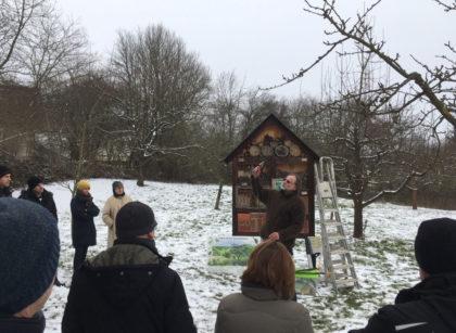 Jörg Haffke gibt den rund 30 Teilnehmenden des Kurses im Treysaer Naturlehrgebiet Tipps zum Thema Baumschnitt. Foto: nh