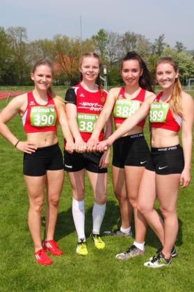 51,97 Sekunden liefen  Franziska Ebert, Vivian Groppe, Marianne Goujard und Sophia Hog über 4x100 Meter der WU20. Foto: nh