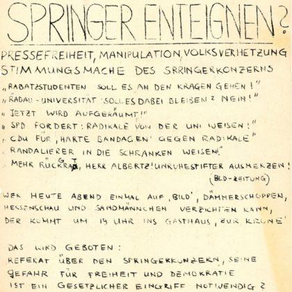 """Flugblatt von Hans Junker, damals Homberg-Caßdorf (Abitur 1968) als Reaktion auf das Attentat auf den """"Studentenführer"""" Rudi Dutschke am 11. April 1968 in West-Berlin (im Besitz des Schulmuseums der BTHS Homberg)"""