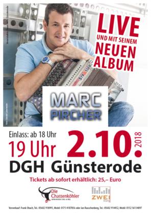 Marc Pircher am 2. Oktober 2018 in Günsterode - Kartenvorverkauf hat begonnen.