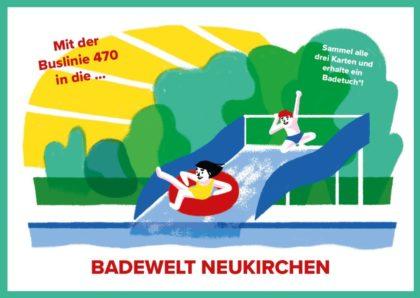Postkarte Freibadaktion. Grafik: nh